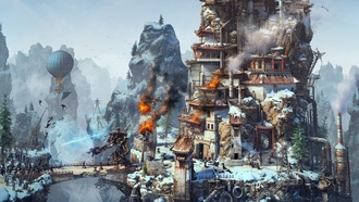 Steampunk, tower siege, rendering, robot, magic, fire, ��������, battle, warriors
