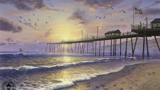 painting, usa, thomas kinkade, beach, footprints, surfing, sand, sunset, Footprints in sand, flag