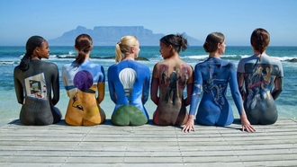 mood, colors, painted bodies, girls, sea