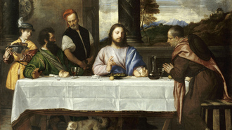 louvre, blessing, painting, wine, emmaus, Titien, bible story, table, jesus christ, bread