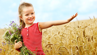smiling, flowers, childhood, bouquet, Cute little girl , child, happiness, children, wheat field