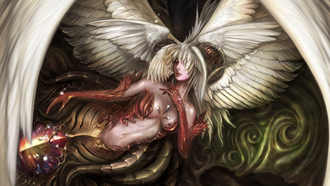 fantasy, magic, girl,  angel or demon, game wallpapers, wings, Lineage 2 goddess of destruction