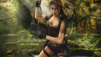 Tomb raider legend, lara croft, game wallpapers, guns, лара крофт, ruins, girl, skulls