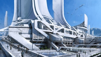 thessia, башни, транспорт, горы, город, concept art, Mass effect 3