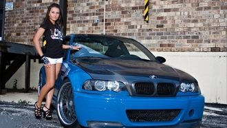 carbon, �����, e46, �����, Bmw, blue, m3, �������, brunet, ���, girl