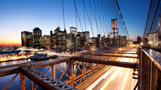 usa, ���-����, nyc, brooklyn bridge, financial district, �����, New york, sunset