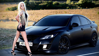 6, matte, Mazda, girl, �����, ���������, blonde, �������, ������, black
