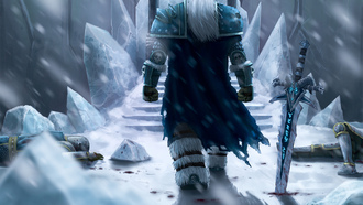льды, снег, wow, World of warcraft, fanart, меч, трупы, lich king, зима, arthas