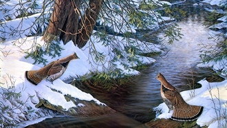 broken bridge, river, bird, sam timm, encounter, painting, creek, snow, Chance encounter, partridge
