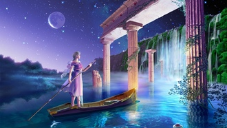 earthlight, back into the palace, Cg wallpapers, yutaka kagaya, celestial exploring, starry tales
