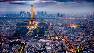 Paris, city skyline, city lights, Eiffel Tower, ����� �����, �����, ����� �����������, �������� �����