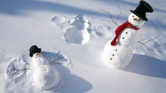 snowmen, snow, ���� �������, snow angels, scarfs, ���������, ����, �����, winter, ����