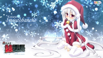����� ������, ���������, white hair, long hair, anime girls, blush, ������, Christmas outfits, purple eyes, ����� �������, thigh highs, �������������� ������, ������� ������, ���������� �����, Christmas, ����� �������, twintails