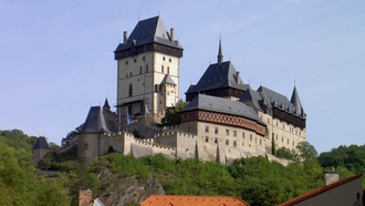�����������, architecture, Karlstejn Castle, trees, ����� ���������, Czech Republic, medieval, ������� ����������, �������, �������������
