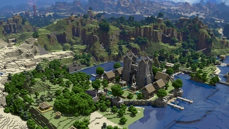 landscapes, ����������, Minecraft, game, video, �����, ����