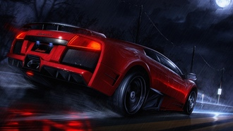 night, roads, Lamborghini Murcielago, cars, автомобили, дорог, Lamborghini, Ночь