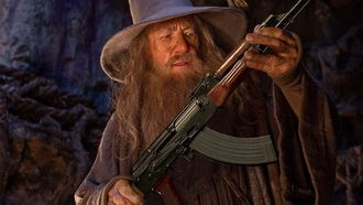 guns, funny, ��������, Gandalf, ������, ���������������, ������,��������� �����, The Lord of the Rings, �������, photomanipulation, wizards