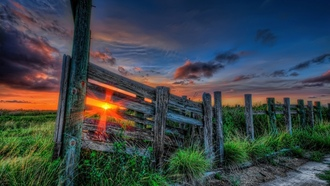 sky, clouds, grass, sunset, sun, nature, path, color, rays