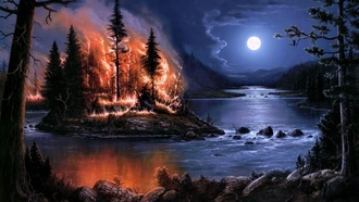 fire, trees, �������, ����, nature, ������, Moon, skies, ������, smoke, �����, burning, ��������������, ������, flames, water, streams, �������, ���, ����, artwork, artistic, ����