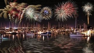 ships, fireworks, digital art, �������� ��������� ����, July, �������, ����������