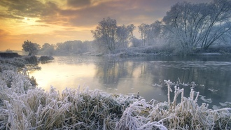 �����, ����, winter, ����, landscapes, nature, clouds, ����, �������, rivers, �������, snow, �������, frost, trees, ������