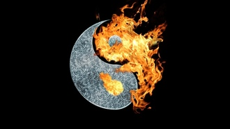 огонь, fire, yin yang, black background, символ, инь янь, symbol, черный фон