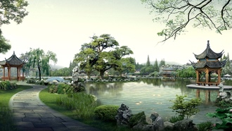 ����, �������� �����������, lakes, Japanese architecture, digital art, �������� ���������