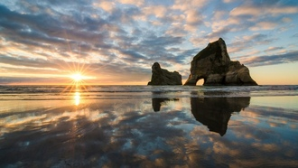 wharariki beach, new zealand, ��������� ����, tasman sea