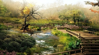 �������� ���, nature, Japanese Garden, bridges, �������, �����