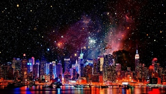 космос, города, cities, galaxies, Нью-Йорка, галактики, New York City, outer space