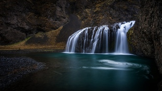 water, volcanic, ����, rivers, Iceland, landscapes, ��������, ��������, �������, waterfalls, blue, �����, �������, ����, �������������, �����, nature, hills