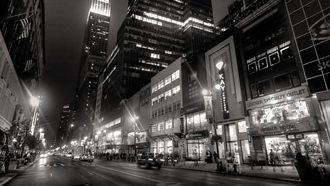 lights, buildings, black and white, city, New york, people, night, taxi, нью-йорк