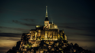 normandy, mont saint-michel, island, france, castle, ���������, �������