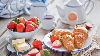 fruit, ���, food, ������, ��������, croissant, strawberry, sweet, �������