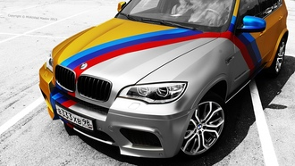 bmw, x5m, gold, chrome