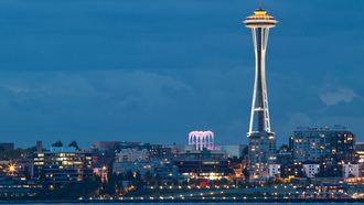 usa, bay, washington, evening, space needle, вашингтон, seattle, city, lights, сша