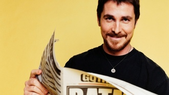 yellow background, christian bale, актер, газета, actors, batman, newspapers