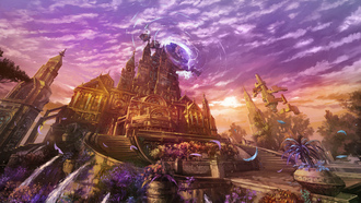 castle, sunset, flowers, magic, fantasy, lineage 2 goddess of destruction, city, game wallpapers