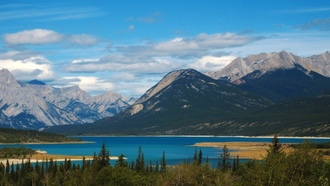 �����, forests, mountains, water, nature, ������, �������, �����, ������, landscapes, �������, go, ����� �������, Canada, ����, Alberta, ����, ����, ������, ��������, �������, �������, Abraham Lake, ���������, blue, green, lakes, trees, yellow, clouds