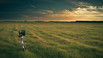 landscape, sky, ������, sunset, bicycle, ����, ���, �������, grass, ����, �����, ���������, ���, nature, �����, ��������, ������