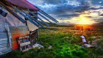 ������, sunrise, the old farmhouse, ������, ������ ���