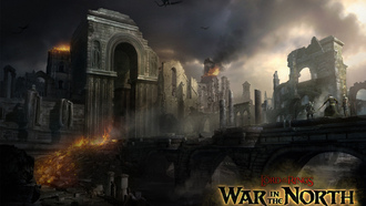 ����� ������, game wallpapers, osgiliath, �����, the lord of the rings, wall, ringwraith, �����, ������, nazgul, ��������, ��������� �����, war in the north
