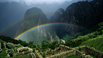 greenery, ������, nature, ����, ruins, ������, 1920x1080, mountains, rainbow, landscape, �������, ������, �����