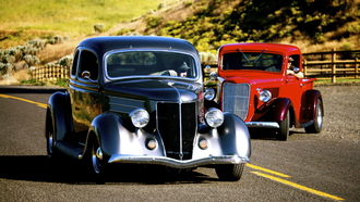 hotrod, ford, 2, coupe, classic, track