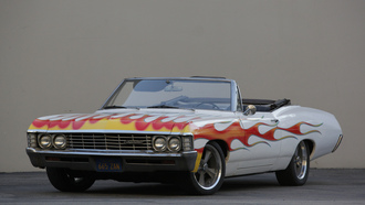 chevy, impala, flamed, convertible