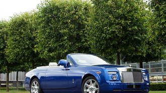 купе, синий, rolls-royce, phantom, coupe, деревья, masterpiece, роллс-ройс, london, дропхэд, фантом, drophead, шикарная машина