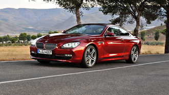 bmw 6 series coupe, car, �������, trees, road, ������, ������