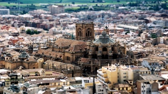 tilt-shift, дома, buildings, крыши, granada cathedral, church