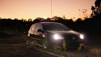 вечер, vw golf, volkswagen, гольф, свет фар, фольксваген