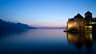 ����, �����, 2560x1600, castle, ����, water, lake, ������, �����, mountains, lights, ����, �����, landscape, sunset, ����, �������, nature, reflection, sky, ���������